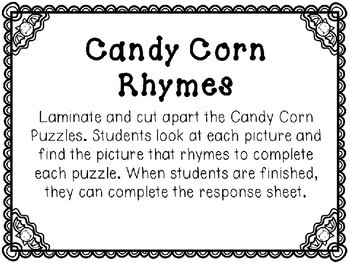 Kindergarten Halloween Literacy Center - Candy Corn Rhyming Center