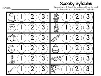 Kindergarten Halloween Literacy Center - Syllable Clip Cards
