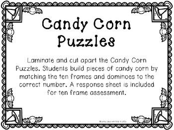 Kindergarten Halloween Math Center - Candy Corn Number Puzzles