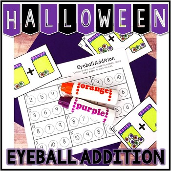 Kindergarten Halloween Math Center - Eyeball Addition