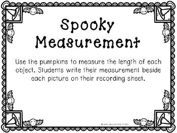 Kindergarten Halloween Math Center - Spooky Measurement