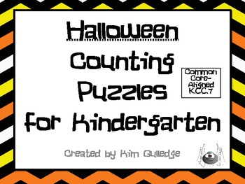 Kindergarten Halloween Math Puzzles Common Core Aligned K.CC.7
