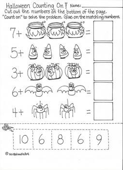kindergarten halloween math worksheets part by noodlzart  tpt