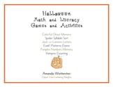 Kindergarten Halloween Math and Literacy Games and Activities