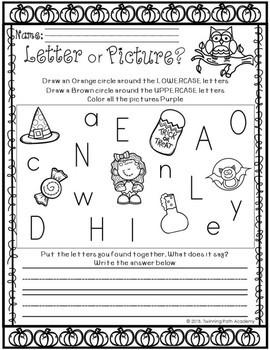 Kindergarten Halloween Packet | No Prep | ELA & Math