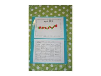 Kindergarten Handprint Homework Calendar