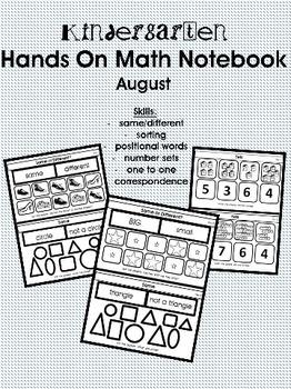 Kindergarten Hands On Math Notebook- August