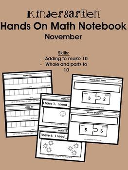 Kindergarten Hands On Math Notebook- November