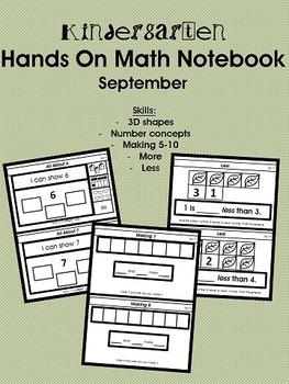 Kindergarten Hands On Math Notebook- September