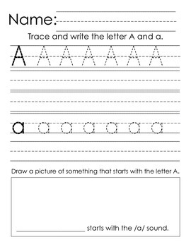 Kindergarten Handwriting Practice: A-Z Alphabet Writing