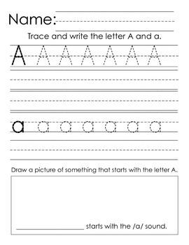 Kindergarten Handwriting Practice: A-Z Alphabet Writing