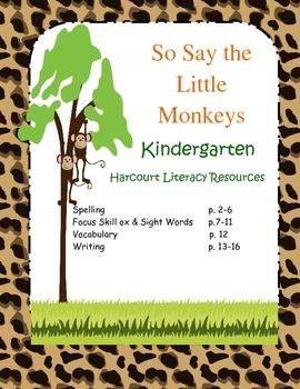 "Kindergarten Harcourt Literacy Worksheets ""So Say The Litt"