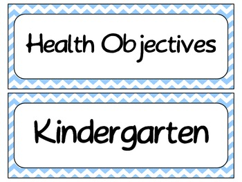 Kindergarten Health TEKS~ Visuals with Chevron Background