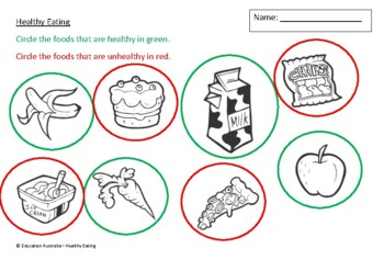 Nutrition - Kindergarten Healthy Eating Test - Assessment