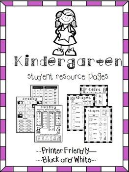 Kindergarten Help Pages for Reading and Math Folders, Homework Folder
