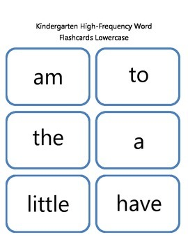Kindergarten High Frequency Flashcards