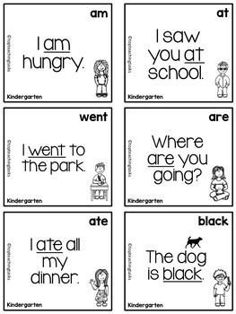 52 Kindergarten Sight Word Dolch Flash Cards