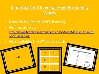 Kindergarten High Frequency Sight Word Pack - PP, Cards, and List