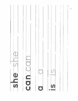 Kindergarten High Frequency Site Word Handwriting Practice Booklet
