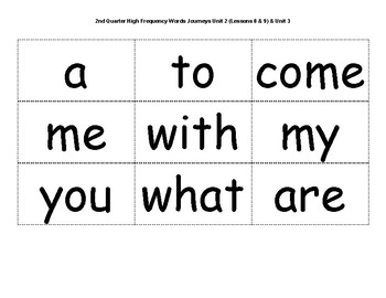 Kindergarten High Frequency Word Cards