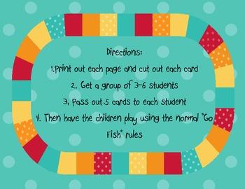 Kindergarten High Frequency Words Go Fish