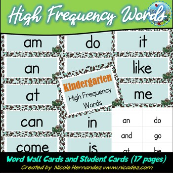 Sight Words / High Frequency Words for Kindergarten {Safari Themed}