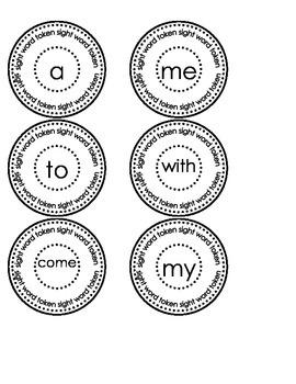 Kindergarten High Frequency Word Tokens Journeys Unit 1-6