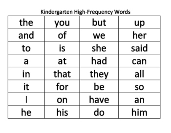 Kindergarten High-Frequency Words