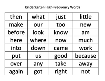 Kindergarten High-Frequency Words