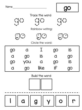 Kindergarten High Frequency Words (Fountas & Pinnell)