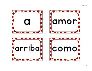 Kindergarten High Frequency Words, Spanish Word Wall in a