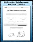 Kindergarten High Frequency Words Worksheets.
