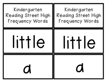Kindergarten High Frequency Words, flash cards