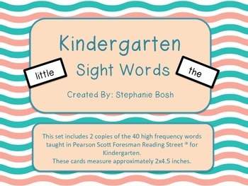 Kindergarten High Frequency Words, flash cards