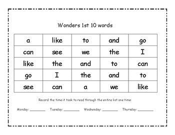 Kindergarten High Frequency Words for McGraw Hill Wonders