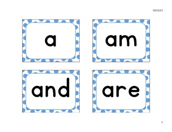Kindergarten High Frequency Words for an English Word Wall in a Dual Language