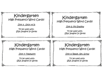 Kindergarten High Frequency Words to be used with Imagine It! Series