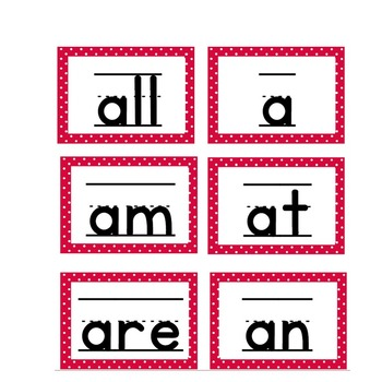 Kindergarten High Frequency and Sight Words Cards in Red & White!