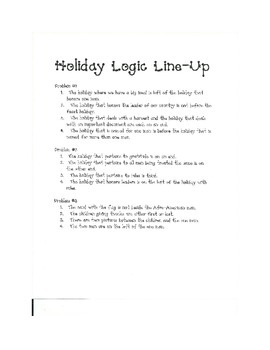 Kindergarten Holiday Logic Line Up NO PREP common core aligned