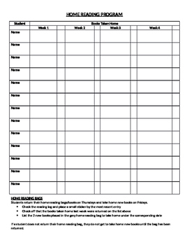 Kindergarten Home Reading Program - Book Tracking Log