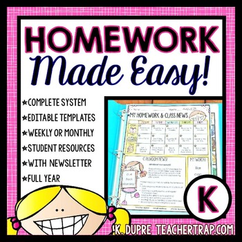 Kindergarten Homework EDITABLE