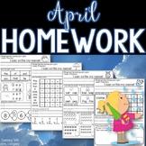 Kindergarten Homework APRIL