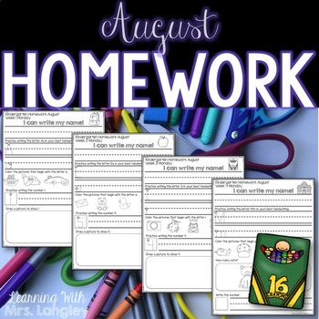 Kindergarten Homework AUGUST