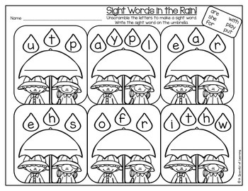 Kindergarten Homework- April (English Only) Aligned to CC