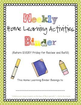 Kindergarten Homework Binders