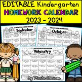 Kindergarten Homework Calendar EDITABLE {2018-2019}