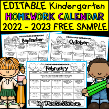 Kindergarten Homework Calendar EDITABLE   FREE SAMPLE