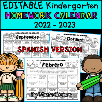 Kindergarten Homework Calendar - EDITABLE SPANISH VERSION