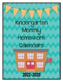 Kindergarten Homework Calendars 2018-2019 (Free Yearly Updates)