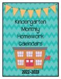 Kindergarten Homework Calendars 2021-2022 (Free Yearly Updates)